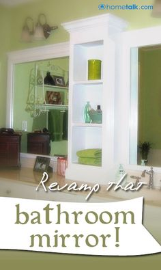 How to {Revamp} your {Bathroom Mirror!} Want this behind the toilet. Too much mirror going on currently.