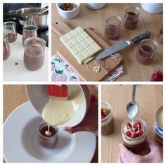Copas de frambuesa y dos chocolates. #receta #sanvalentín
