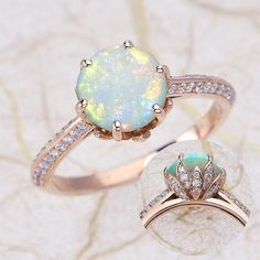Engagement Ring with an 8mm Round Opal set in 14K Rose Gold