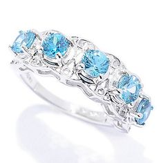 Gem Treasures® Sterling Silver 2.00ctw Round Blue Zircon Band Ring
