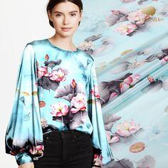 butterfly in sky blue fashion design silk fabric supplies Stretch Silk Satin Fabric