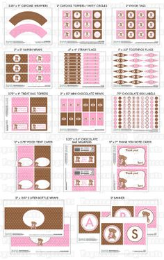 Printable DIY Pink and Brown Teddy Bear Theme Personalized Girl LARGE Baby Shower Package