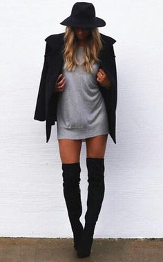 Grey mini dress + black coat and hat