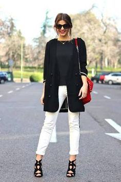 Image result for black and white pants outfit