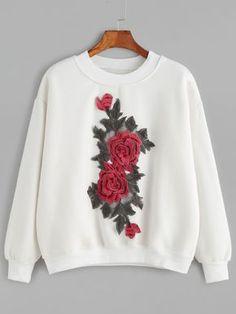 Sudadera con hombro caído y bordado floral-(Sheinside)