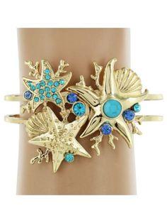 Ocean Blue Sea Life Hinge Bracelet