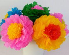 Fiesta Tissue Paper Flowers - Set of 10 flowers  Decor/Birthdays/Fiesta/Mexico/Parties