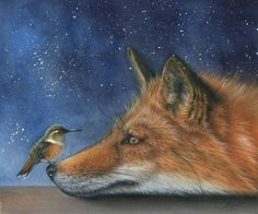 Two of my closest animal totems right here in this beautiful painting by Eileen Sorg. I LOVE this painting Animal Paintings, Animal Drawings, Art Drawings, Gato Animal, Mundo Animal, Art And Illustration, Art Fox, Art Fantaisiste, Fox Painting