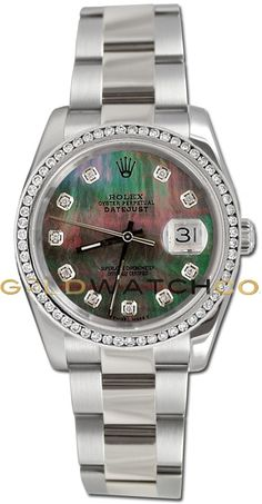 Rolex Mens New Style Heavy Band Stainless Steel Datejust Model, Band Custom Added Tehetian MOP Diamond Dial & Diamond Bezel.