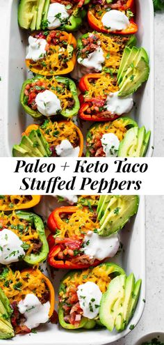 These Paleo Taco Stuffed Peppers are super easy to make and packed with goodies! Bell peppers are filled with the best taco meat and topped with vegan cheese, baked, and topped with all your favorites like fresh pico de Gallo, avocado and dairy free sour cream. Paleo, dairy free and keto friendly. #paleo #keto #cleaneating #lowcarb Paleo Keto Recipes, Paleo Dairy, Vegetarian Recipes, Gluten, Dairy Free Cheese, Vegan Cheese, Greek Stuffed Peppers, Paleo Tacos, Paleo Running Momma