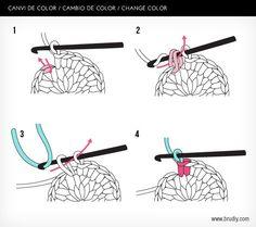 Amigurumi Tutorial: Cambio de Color - Tutorial en Español aquí: http://www.brudiy.com/pages/puntos-de-ganchillo