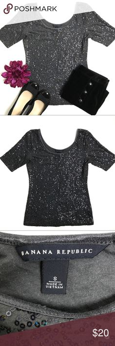 Banana Republic Grey Sequin Scoop Neck Stretch Top Great condition Banana Republic grey sequin stretch tee. Flattering ballerina scoop neckline. Perfect for the holidays! Pair it with jeans for a casual party or with a velvet skirt or pants for dressier occasions. Very versatile. 100% cotton exclusive of decoration. Banana Republic Tops