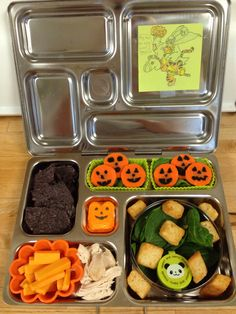 """Halloween themed lunch for Oct. 1st...let the countdown to Halloween begin! Carrot """"pumpkins"""", salad w/croutons and dressing, chicken, cheddar cheese, tortilla chips, and a pumpkin peep for dessert!"""