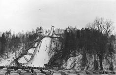 Chester Bowl Ski Jump, with cars lined up to watch.  No jumping until it warms up to zero!