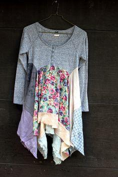 Boho tunic for Fall, shabby chic romantic, junk gypsy style