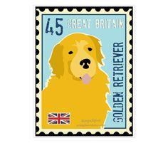 Golden Retriever Art Poster Print Postage Stamp Art Series 11 x 14