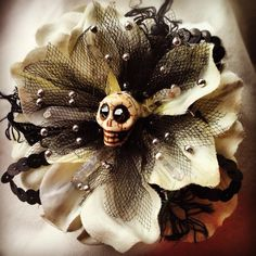 Day of the dead hair flower