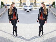krist.in style sheinside blouse leather jacket streetstyle blomsterkrans