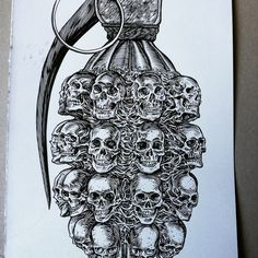 #glennoart #grenade #illustration #military #skulls #weapons #heavymetal #metal #punk .. Drawing tough stuff