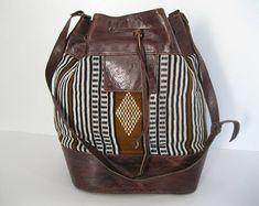 Genuine vintage leather and fabric drawstring shoulder bag ethnic chic