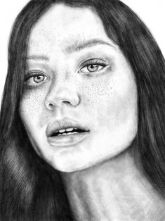 Black and white portrait drawing, art, woman, photo