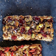 Pistachio-Apple Bars with Chia Seeds | MyRecipes.com These homemade bars combine fruit and nut flavors to make a tasty snack. Barley Cereal, Homemade Trail Mix, Healthy Menu, Healthy Desserts, Dessert Recipes, Snack Recipes, Healthy Foods, Healthy Eating, Paleo Dairy