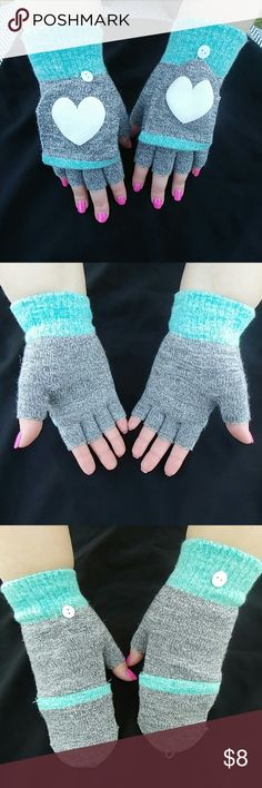 Grey and mint heart mittens Grey and mint heart mittens. Great condition, never worn. So cute!! Accessories Gloves & Mittens