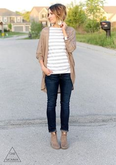 Time to break out the cardigans!  Fall outfits for mom. women's fashion, mom style