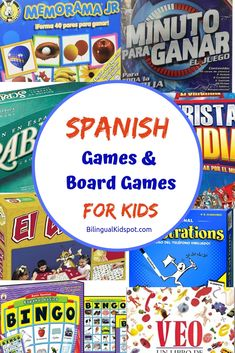 A list of the best Spanish games for kids including Spanish board games that will help kids to improve their language skills while having fun. #Spanish #boardgames