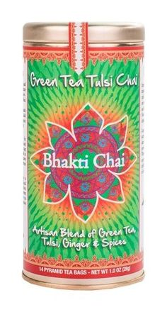 Bhakti Chai Green Tea Tulsi Chai, Two Canisters, Each with 14 Pyramid Bags ** To view further for this item, visit the image link. (This is an affiliate link) #ChaiTea