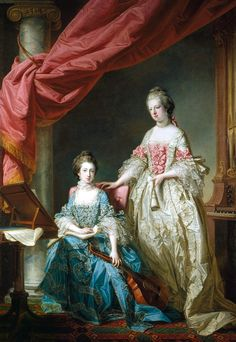 1767 Princess Louisa and Princess Caroline by Francis Cotes. Portrait of George III's two youngest sisters, Princess Louisa (seated left) at 17 years, and Princess Caroline (standing) at 16 years. Rococo, Baroque, Mademoiselle Caroline, Princess Louise, The Royal Collection, 18th Century Fashion, 17th Century, Marie Antoinette, Fashion History