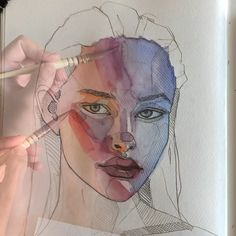 Light 038 shadow colours by Polina Bright watercolourpainting watercolor watercoloursketch art artwork Art Watercolor, Watercolor Portraits, Watercolor Video, Watercolor Portrait Tutorial, Watercolor Portrait Painting, Art Drawings Sketches, Illustration Art Drawing, Sketch Art, Anime Sketch