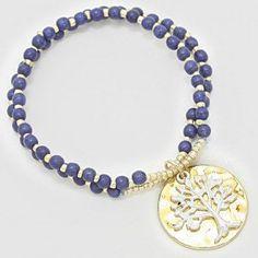 "Women's Gold, Silver and Blue Tree of Life Howlite Bead Stretch Bracelet. Size: 1"" H, Stretchable. WT001 http://www.amazon.com/dp/B00L2ONEI8/ref=cm_sw_r_pi_dp_40v4ub1MSBJZ5"