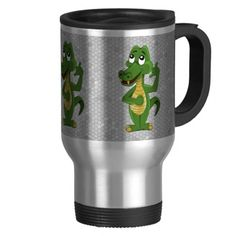 Mug with alligator or crocodile cartoon