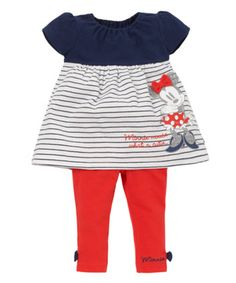 Minnie Mouse Dress and Leggings Set. A pretty two piece set including a Minnie Mouse print dress and a pair of comfy leggings.