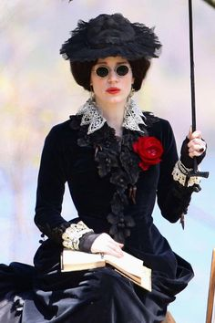 Jessica Chastain as Lady Lucille Sharpe on the set of Crimson Peak (2014). Costume Designer:  Kate Hawley