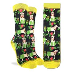 description Gaze into the eyes of this cute Labrador and you'll be feeling the love. Do you have a lab, or are you a lover of all dogs? Then these socks are for you! /description material MADE FROM 48% Polyester, 45% Cotton, 5% Elastic, 2% Spandex /material care CARE INSTRUCTIONS Machine wash, cold (30 ℃ / 86 ℉). Do not bleach or iron. To reduce damage and if you're feeling very fancy, line dry. They will last longer if you keep them out of the tumble dryer. Eat well. Exercise. Have an amazing d Good Luck Socks, Dog Illustration, Spandex Material, Hula, Sock Shoes, Eating Well, Labrador Retriever, Fancy, Yellow