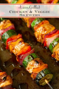 These delicious, Asian Grilled Chicken Veggie Skewers employ a shortcut ingredient to make the recipe SO easy! They're sweet and sticky with a bit of heat. Grilling Recipes, Beef Recipes, Chicken Recipes, Healthy Recipes, Barbecue Recipes, Avocado Recipes, Veggie Recipes, Delicious Recipes, Easy Recipes