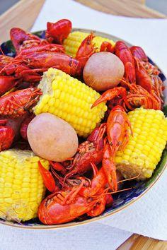Crawfish Boil potatoes, crawfish, and corn. SPICY! MMMMMMMMMMMMM!