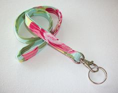 Lanyard ID Badge Holder NEW THINNER design tumble roses preppy / fabric / cute / patterns / key chain / office, nurse, student id, badge / key leash / gifts / key ring / id badge holder / badge holder / teachers gifts / teacher / coworkers / sports lanyard / neck strap