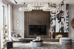 Portfolio: Apartment in the heart of Petrovsky Island Modern Classic Interior, Luxury Interior, Interior Design Living Room, Living Room Designs, Design Hall, Neoclassical Interior, Classic Living Room, Fireplace Design, Modern Room