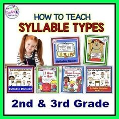 This is an interactive Syllable Types BIG bundle packed full of games, syllable sorts, printables and fun activities to teach the Syllable Types. Ideal for small groups, interventionists, word work centers and tutoring for 2nd, 3rd, 4th and 5th grade. (175 pages)CCSS.ELA-LITERACY.RF.2.3Know and appl...