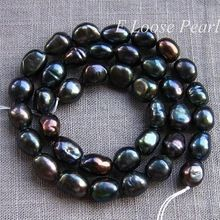 New Arriver Pearl Jewelry Black Baroque Pebble Nugget Potato Freshwater Loose Beads 8.0-9.0mm 38pcs Full Strand(China (Mainland))