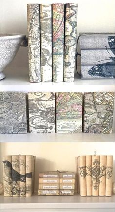 Hey world traveler! Now that you've settled down, it's about time you reflected your wanderlust on your home decor with a decorative book set with vintage map covers! | Made on Hatch.co by independent makers & designers