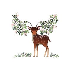 Tiny deer with floral and leafy antlers - what a love of an illustration by Anna Emilia Laitinen Finland Art And Illustration, Illustration Mignonne, Art Mignon, Dibujos Cute, Inspiration Art, Woodland Creatures, Art Design, Deer Design, Bambi