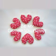 Valentine catnip hearts made of cotton, fleece, stuffed eith wadding, and generous portion of Catnip & Silvervine (Japanese Matatabi)...
