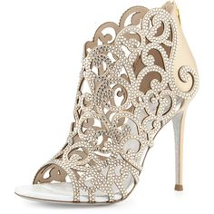 Rene Caovilla Scroll Laser-Cut Crystal 105mm Bootie (29.155 ARS) ❤ liked on Polyvore featuring shoes, boots, ankle booties, white, glitter boots, open toe ankle booties, ankle bootie boots, bootie boots and short boots