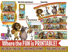 Super Party Madagascar Leon Jirafa Cebra Hipopotamo por Printnfun, €18.00 #madagascarpartykit #madagascarprintables #madagascar