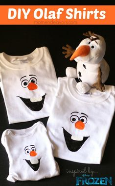 DIY Olaf shirts - #Frozen - A Little Craft in Your Day