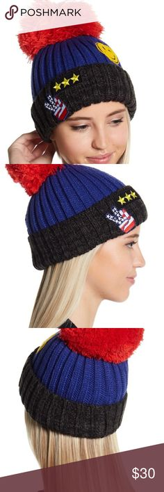 Free People Happy Place patchwork pompom beanie NWT Free People Happy Place patchwork PomPom Beanie Hat Cap - Pompom accent on top - Rounded crown - Foldover cuff - Patchwork detail throughout - Colorblock construction - Knit construction - Imported Materials 100% Acrylic Care Hand wash cold Free People Accessories Hats